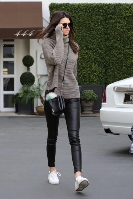 Kendall Jenner wearing Fendi Pompom Bag Charm, Saint Laurent Monogramme Bourse Mini Leather Bucket Bag and 1-01 Babaton For Aritzia Mika Turtleneck Sweater in Heather Amie Copy