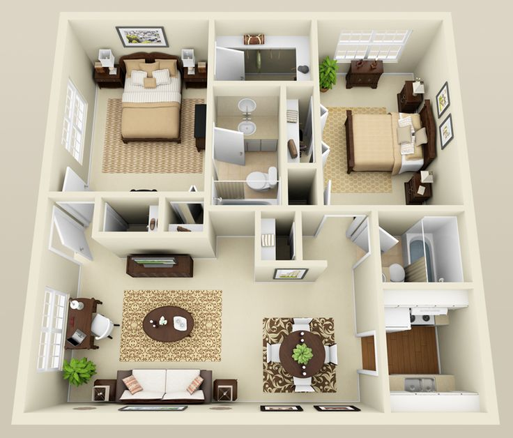 17 best images about 3d on pinterest studios studio for Two bedroom apartment design