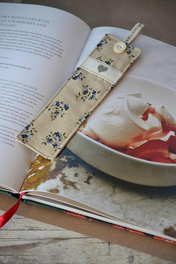 Fabric Bookmark Bookmark Grey Navy Beige by HeartmadeSouthAfrica