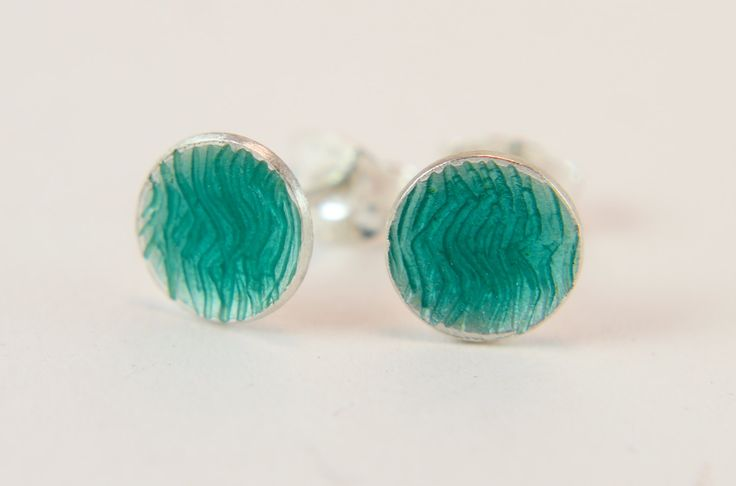 Turquoise waves engraved enamel silver stud earrings by imogenhose on Etsy