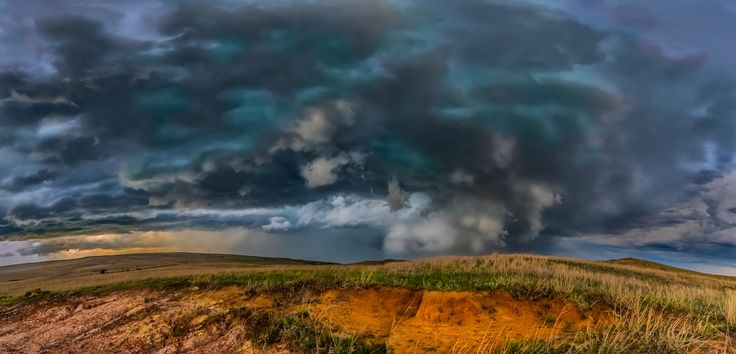 Summer storm in the Great Plains - Tornado warned thunderstorm in sunset hours over the Great Plains