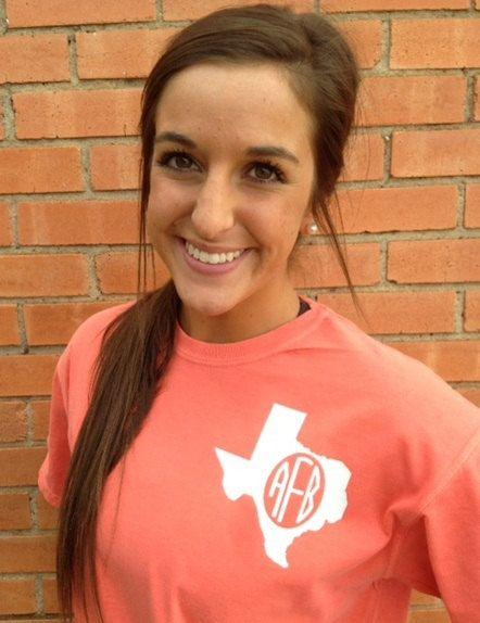 Texas spirit short sleeve monogram t-shirt Texan or ANY state❤️ cute!