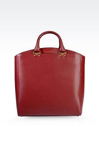 Emporio Armani Tote Bag in Boarded Leather, $975, available at Emporio Armani. #refinery29 http://www.refinery29.com/designer-handbags#slide-20