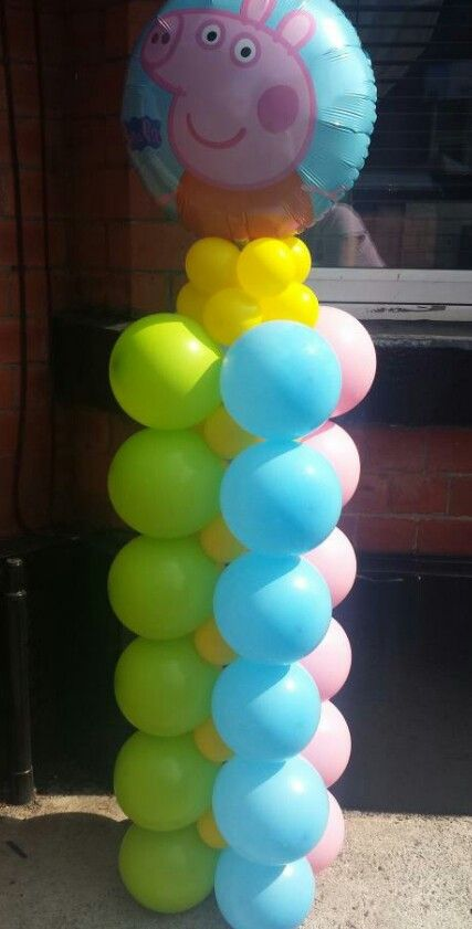 Peppa Pig column by Lissy's Balloons  Gifts. Manchester, UK  www.lissysballoonsandgifts.co.uk