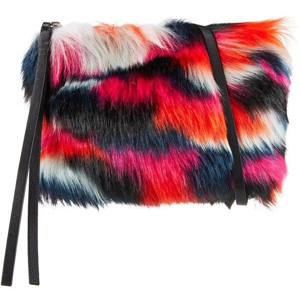 Mcq Alexander Mcqueen Faux Fur Clutch Bag ($255) ❤ liked on Polyvore featuring bags, handbags, clutches, multi, colorful handbags, multi colored clutches, faux fur handbags, holiday purse and zip purse