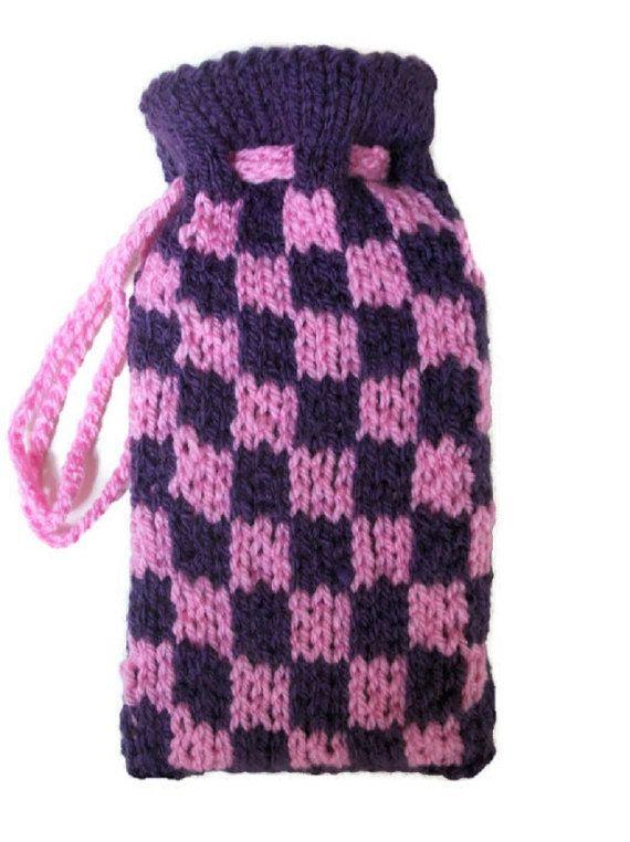 Hand knit tarot bag pouch Chequered purple by thekittensmittensuk, £11.00