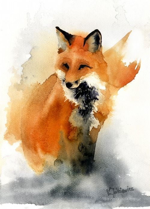 Red Fox Watercolor Art Painting by Katarzyna Jaskiewicz. This would also make a cool tattoo!  #FoxTattoo  #RedFox  #FoxWatercolor