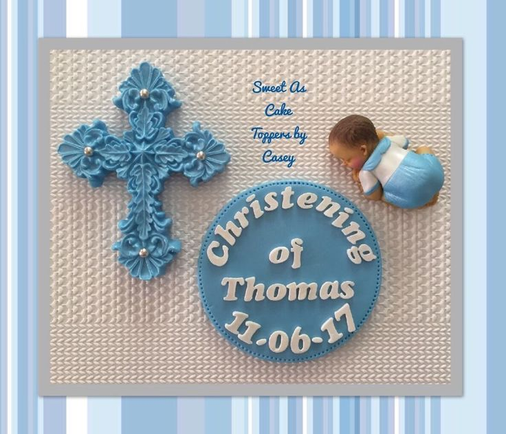 Baby Boy + Cross + FIRST NAME Christening Cake Topper Plaque. Cake Decoration.  | eBay