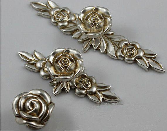 Rose Knobs Flower Dresser Knobs Pulls Drawer Pulls Handles Antique Silver  Kitchen Cabinet Knobs Pulls Decorative