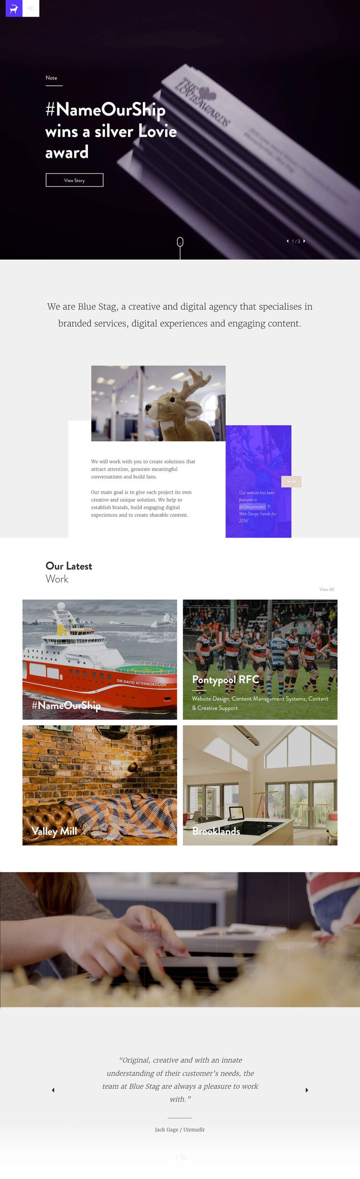 Blue Stag (More web design inspiration at topdesigninspiration.com) #design #web #webdesign #sitedesign #responsive #ux #ui
