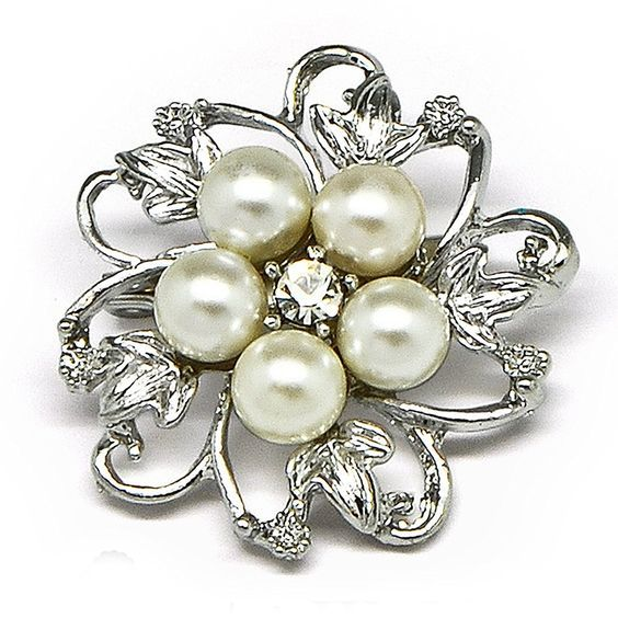 Simulated Faux Pearl Rhinestone Flower Mini Corsage Wedding Brooch Pin *** Want to know more, click on the image.