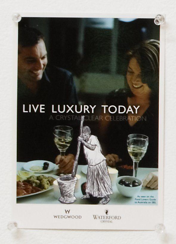 Live Luxury Today - ballpoint pen on leaflet 2008