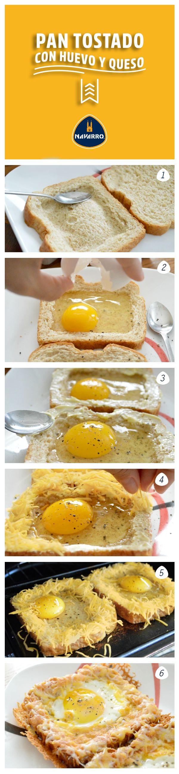 El clásico pan tostado con huevo, pero mejor: con mucho Queso Cheddar NAVARRO.