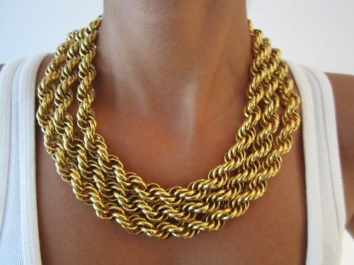 Chunky gold necklace: Gold Chains Necklaces, Statement Necklaces, Low Carb Recipes, Gold Necklaces, Ropes, Accessories, Weights Loss, Gold Jewelry, Chunky Necklaces