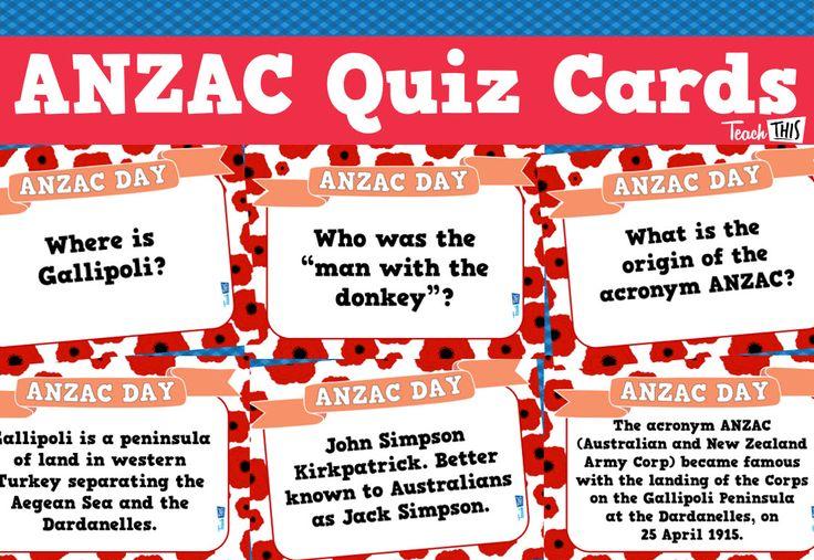 ANZAC Day - Quiz Cards