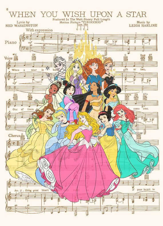 Disney Princesses Art Print par AmourPrints sur Etsy