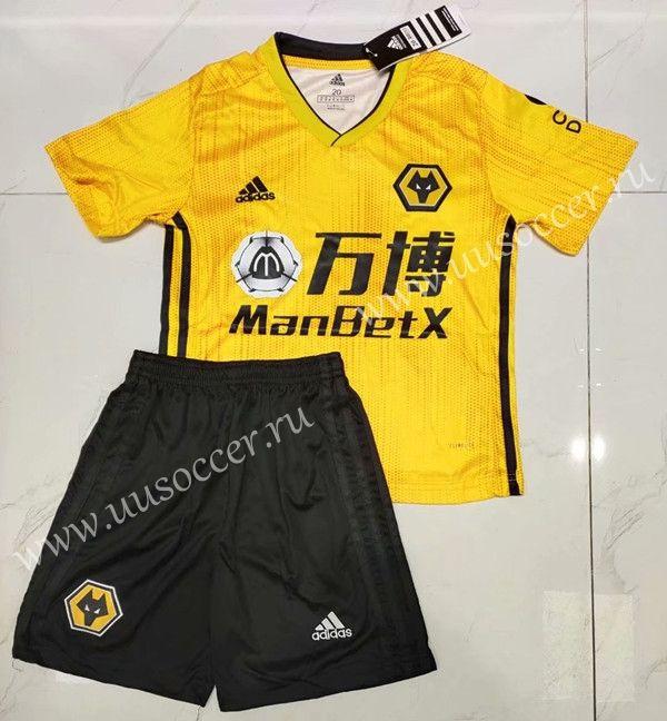 2019 2020 Wolverhampton Wanderers Home Yellow Kid Youth Soccer Uniform Soccer Uniforms Youth Soccer Soccer