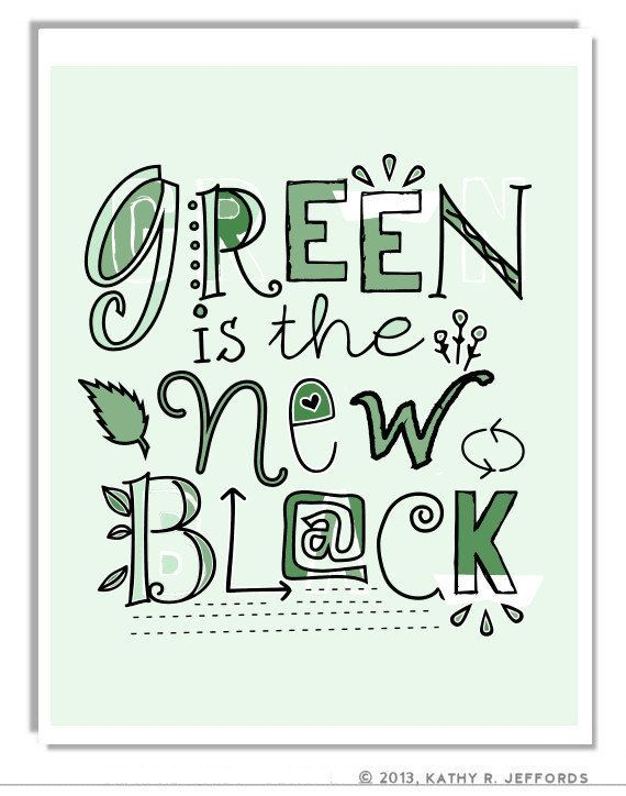 Green Is The New Black Print by thedreamygiraffe