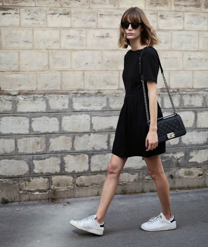 Risultati immagini per dress and sneakers