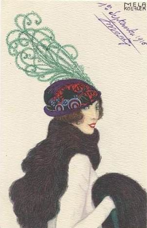 Mela Koehler, card, 1916 by Gatochy - did over 100 fashion postcards for the Wiener Werkstatte