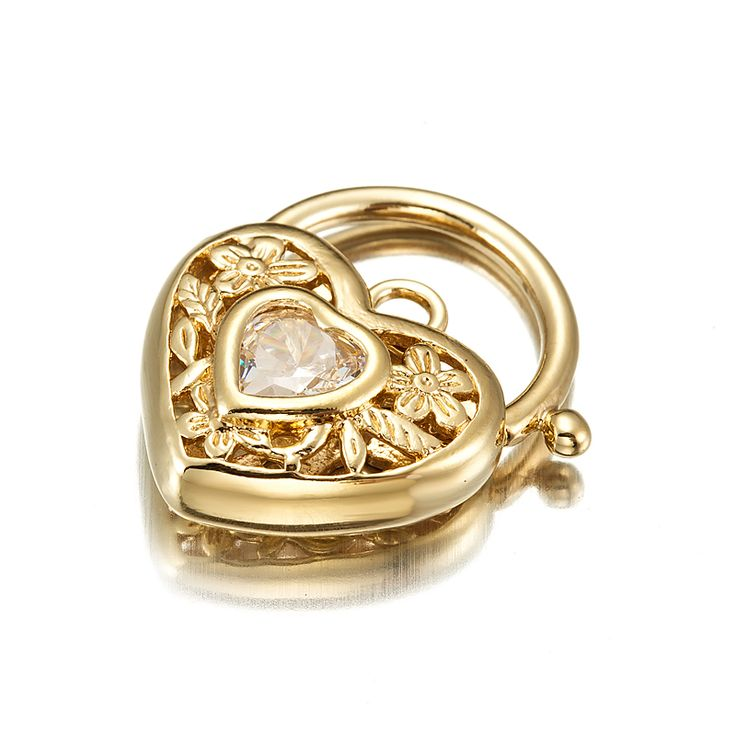 18ct Yellow Gold Layered Filigree Heart Locket with a Clear CZ Stone | Allure Gold
