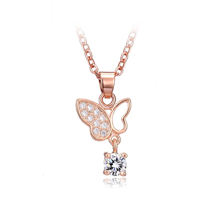 DROLE 2017 New Arrival Rose Gold Color  Butterfly Pendant Crystal Zircon Choker Long Chain Necklace Fashion Jewelry for Women