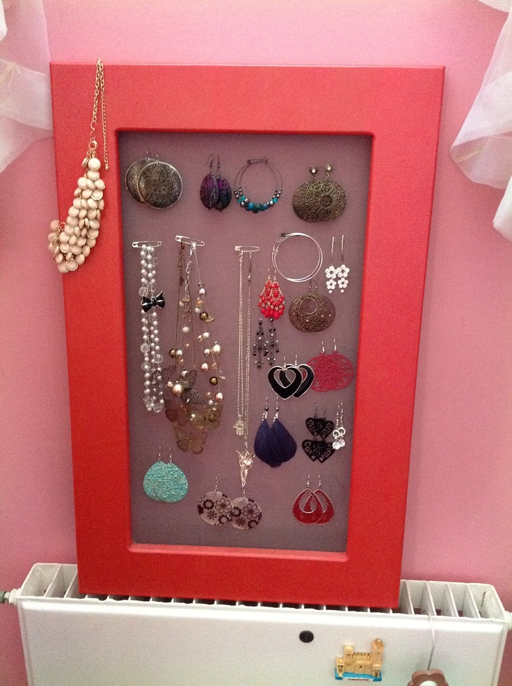Diy jewelry case  Wood and wire mesh