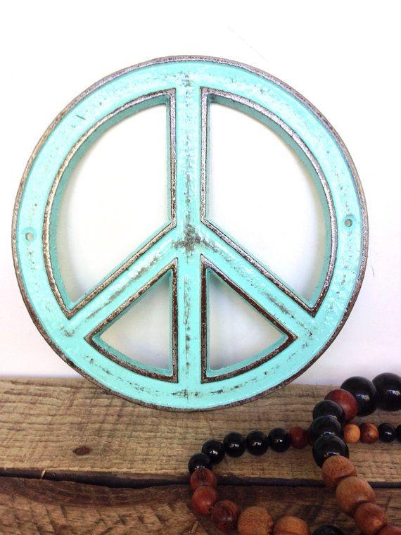 Turquoise vredesteken Boheemse Decor door ShineBoxPrimitives