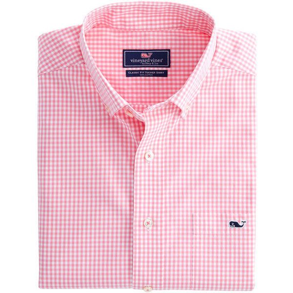 Topsail Gingham Classic Tucker Shirt ($99) ❤ liked on Polyvore featuring tops, pink gingham top, pink gingham shirt, shirt top, pink top and gingham print shirt