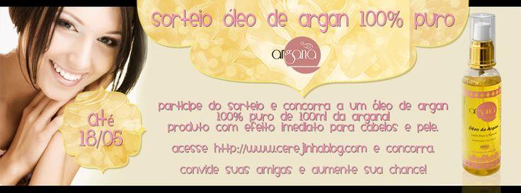 Sorteio Óleo de Argan da Argana http://www.cerejinhablog.com/2014/04/sorteio-oleo-de-argan-da-argana.html