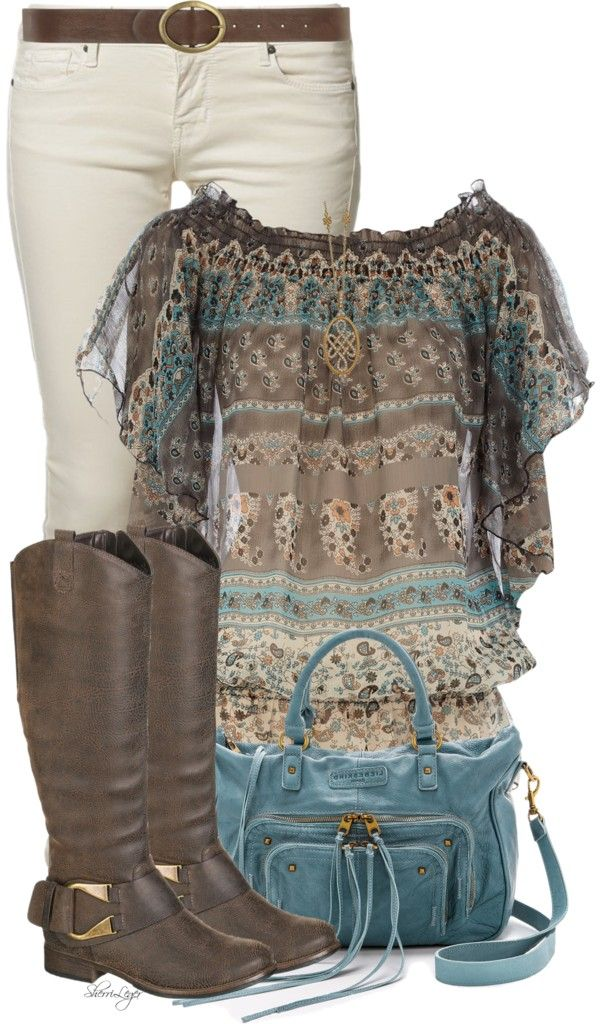 cute spring outfits | Cute Printed Gypsy Top Spring Outfit | Outfits Pedia