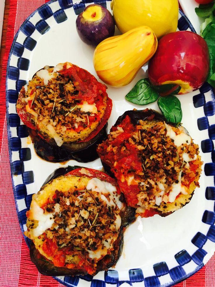 polenta|eggplant|stacks|Meatless Monday|vegetarian|gluten free|weeknight