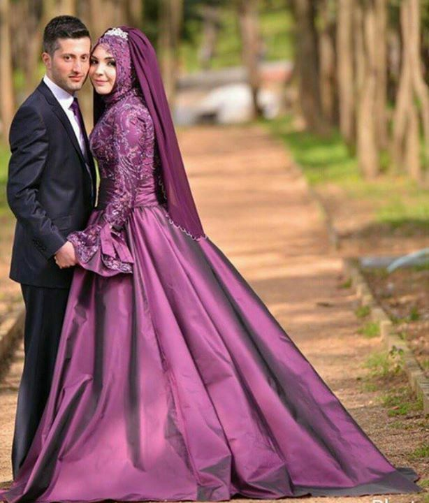 Turkish bride in eggplant colour