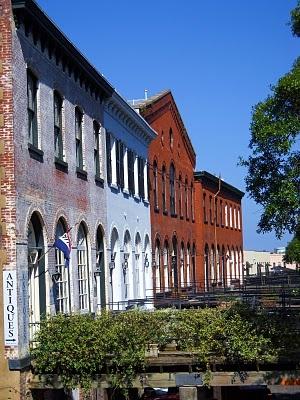 The old Cotton Exchange on River Street, historic Savannah, GA.
