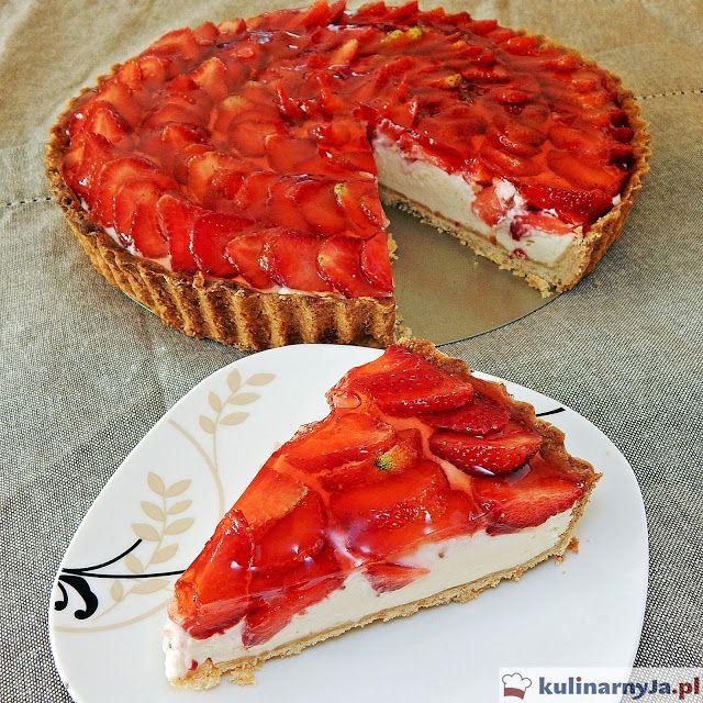 Tarta z truskawkami i waniliowym kremem mascarpone #tarta #truskawki #ciasta