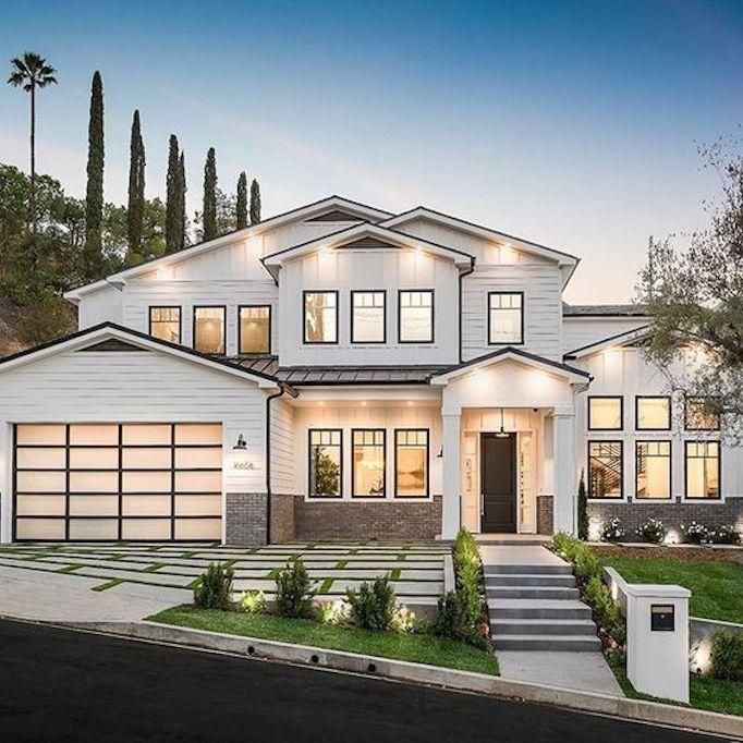 Dream Home A Luxurious Modern Farmhouse In Encino Hills Becki Owens House Designs Exterior Dream Home Design House Exterior