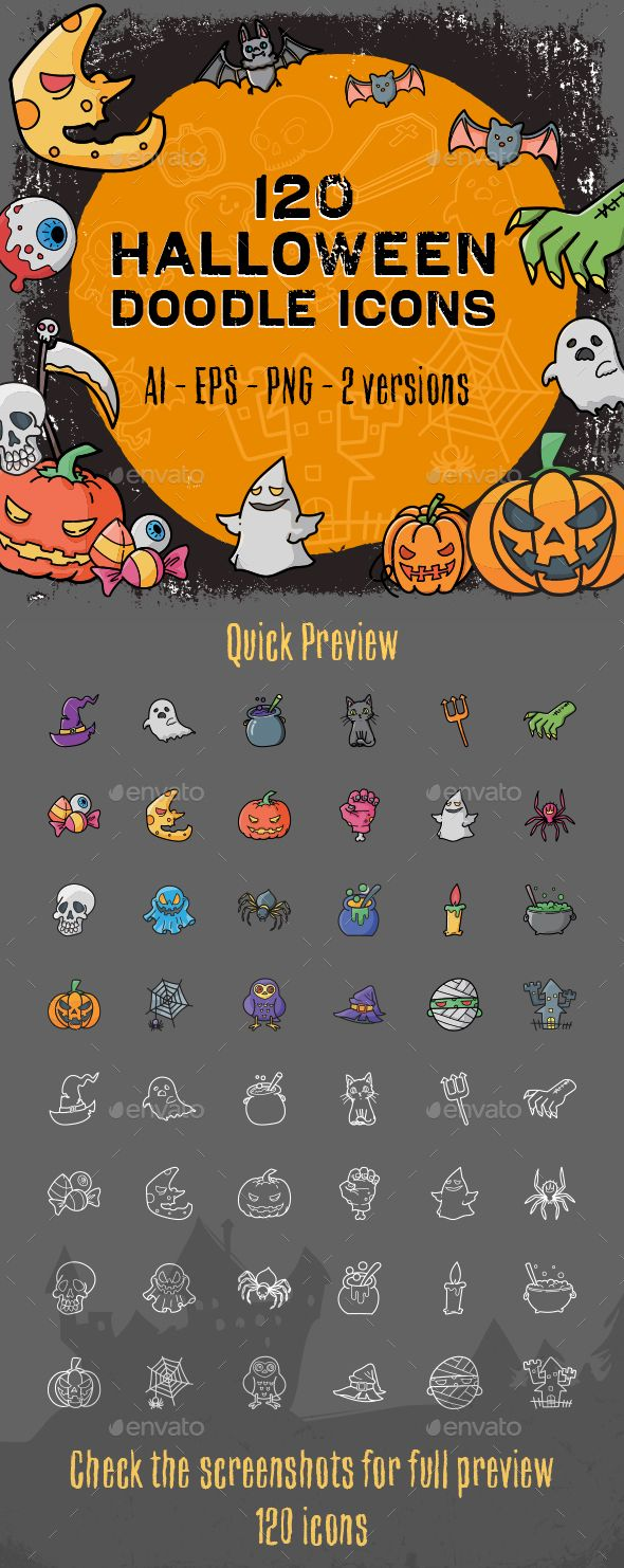 120 Halloween Doodle Icon Set  — EPS Template #halloween colored icons…
