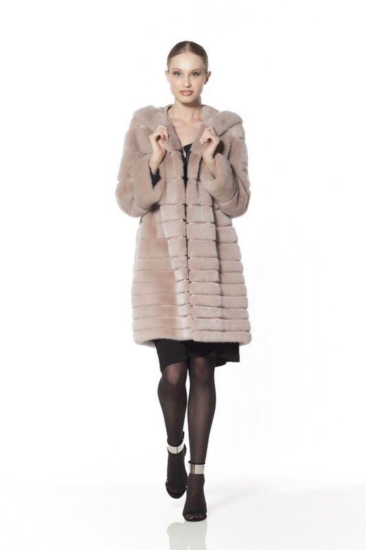 Dyed Mink Fur Hooded Coat