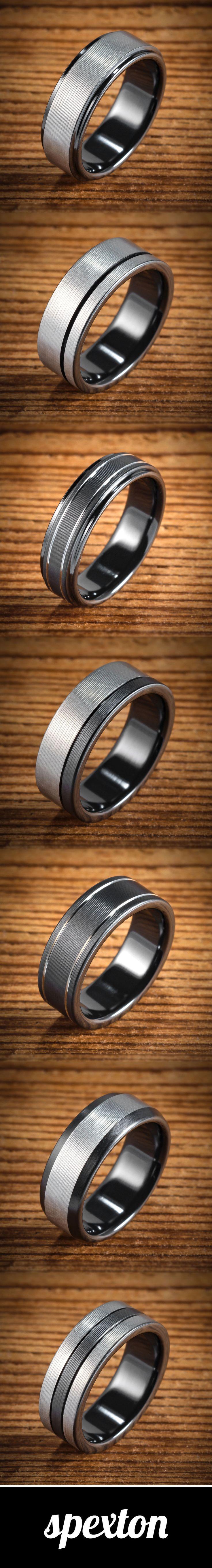 Black & Silver Bi-Color Black Zirconium Men's Wedding Bands custom made by Spexton