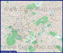 Подробная карта города Афины с достопримечательностями