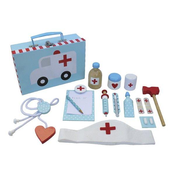 Carinissima valigetta del dottore piena strumenti realizzati in legno per giocare da grandi.