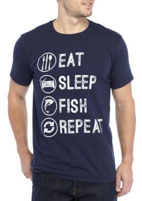 Freeze Men's Eat Sleep Fish Repeat Tee Shirt - Navy - 2Xl