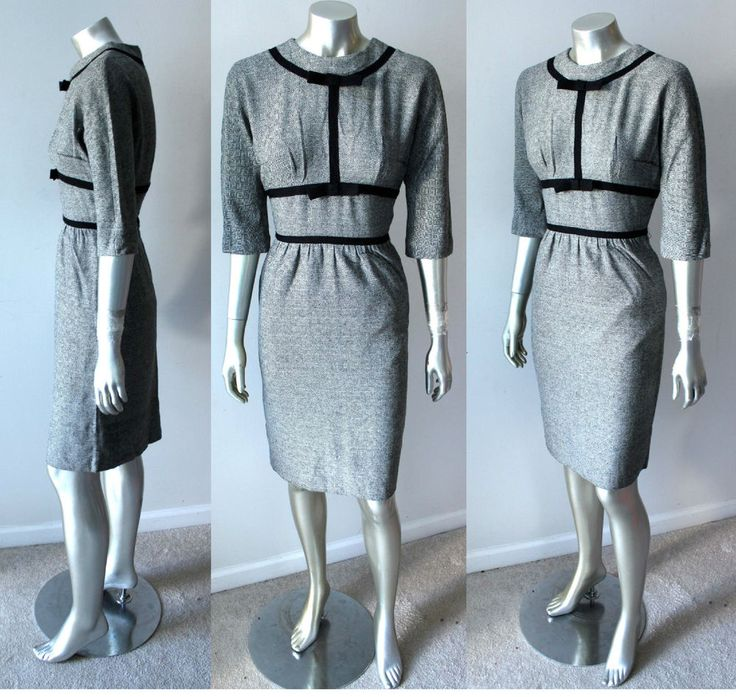 Sheath VTG 50s Wool Pencil Knee Length Kitten Bow Fitted White Black Dress Sz S