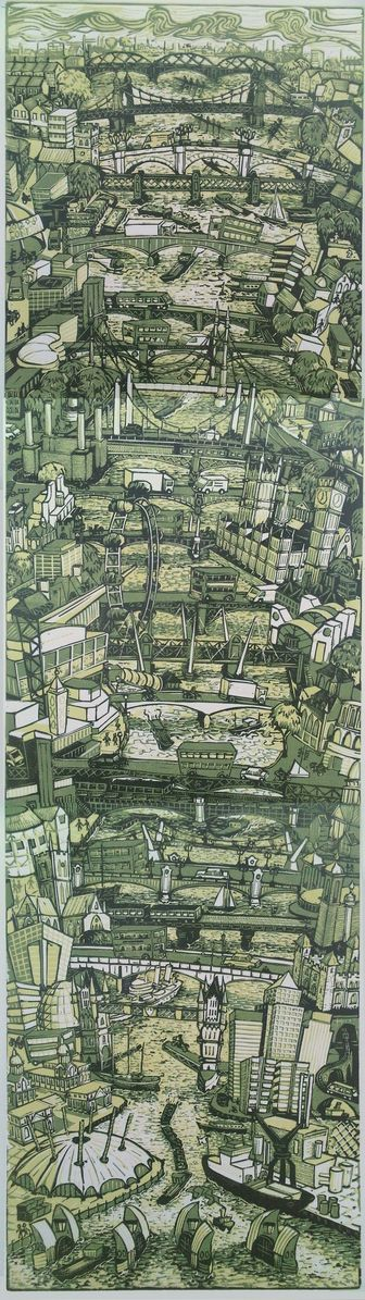 """London Bridges"" 2010, linocut by Tobias Till. http://www.tobias-till.co.uk/. Tags: Linocut, Cut, Print, Linoleum, Lino, Carving, Block, Woodcut, Helen Elstone, Buildings, Architecture, Bridge, London, City, Water, river."