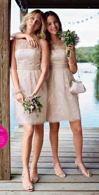 David's bridal short sleeve organza dress with embroidery style F15431 (in this champagne colour, not in purple)