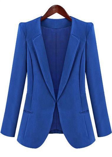 Charming Blue Turndown Collar Long Sleeve Woman Blazer