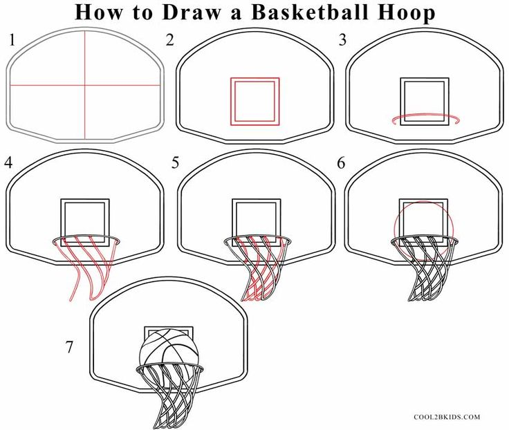How to Draw a Basketball Hoop Step Drawing Tutorial with Pictures | Cool2bKids
