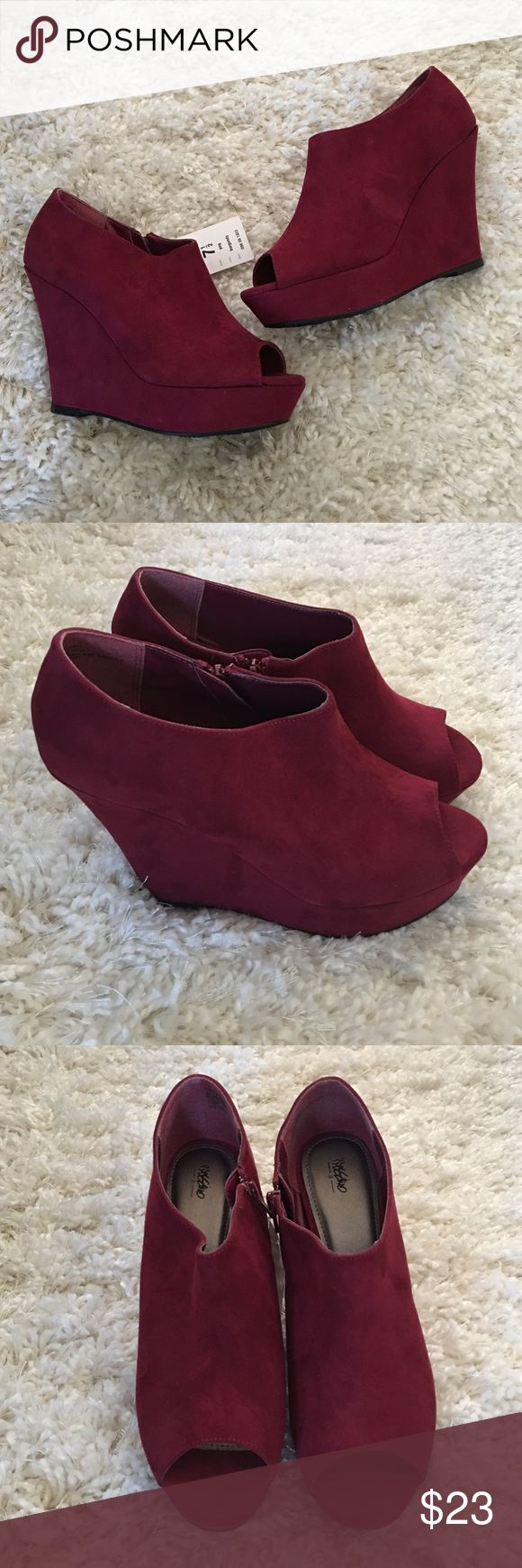"Mossimo-Peep Toe Wedges-Burgundy-Size 7.5 New with tags. Mossimo brand. Beautiful burgundy color perfect for fall. Faux suede peep toe wedges with approx 4.5"" heel. Size 7.5 ***Sorry, No Trades*** Mossimo Supply Co. Shoes Wedges"