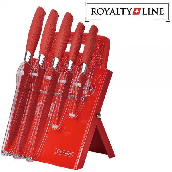 ✔ Merk: Royalty Line ✔ Type: RL-RED7ST ✔ Kleur: rood ✔ 5 essentiële keukenmessen + luxe houder + snijplank ✔ Lemmet Keramische coating ✔ Met een laser geslepen, ultrascherp ✔ Keramische coating nog fijner en scherper ✔ Speels design en frivole kleuren ✔ Kleur verlijming van FDA goedgekeurde