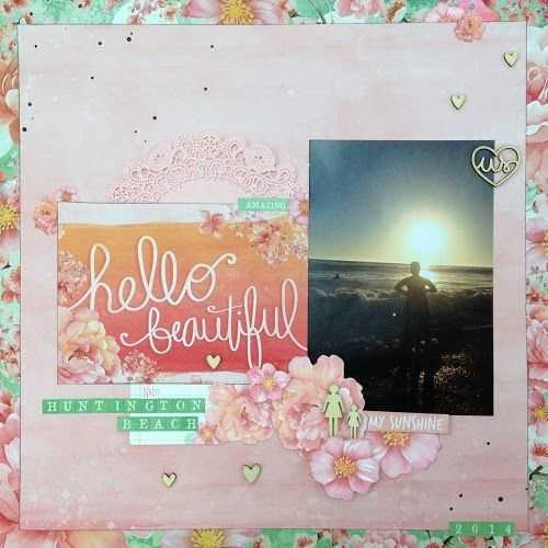 Nadine Karen: the beautiful ordinary: scrapbooking layout using Kaiser Craft Cherry Blossom. Perfect for beach photos.